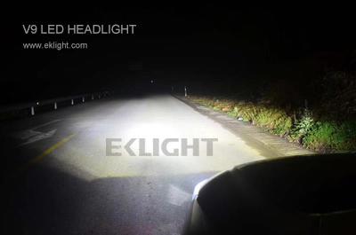 V9 led headlight low beam in action