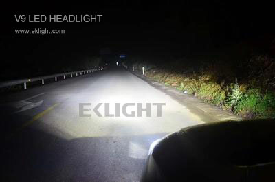 V9 led headlight high beam in action
